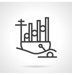 Navy ship simple line icon vector