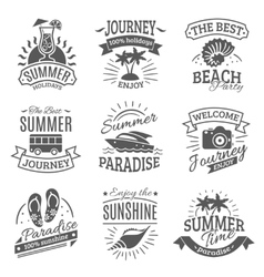 Summer holidays black labels set vector