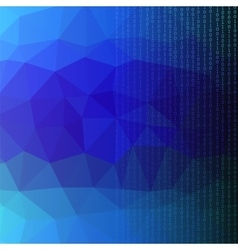 Binary code blue polygonal background vector
