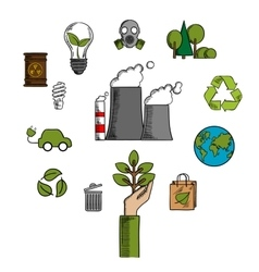 Environment and ecological conservation icons vector