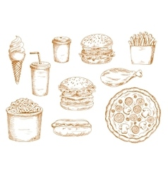 Sketches of fast food and drinks vector
