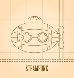 Steampunk background submarine vector