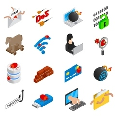 Hacking icons set isometric 3d style vector image