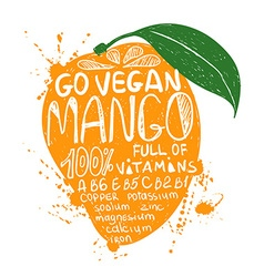 Of isolated colorful mango silhouette vector