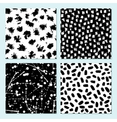 Seamless modern ink pattern set messy ink vector
