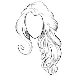 Abstract drawing of long hair vector