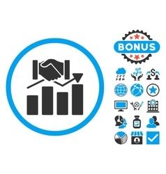 Acquisition graph flat icon with bonus vector