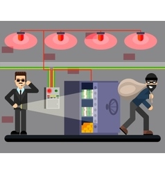 Bank hacking safe crime scene security system vector