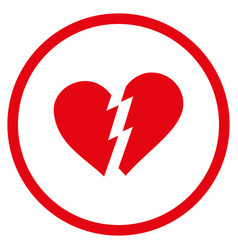Broken heart rounded icon vector