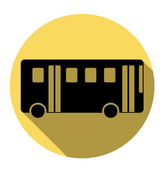 Bus simple sign flat black icon with flat vector