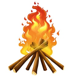 Campfire on white background vector