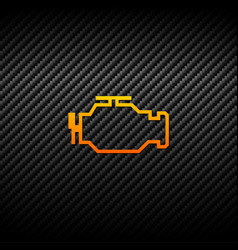 check engine icon on carbon background vector image