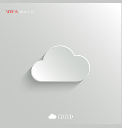 Cloud icon - white app button vector