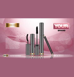 cosmetic set ads template mascara and brow s gel vector image vector image