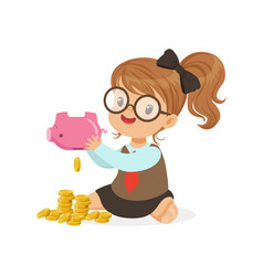 Cute little girl businesswoman shaking piggy bank vector