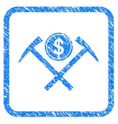 Dollar mining hammers framed stamp vector