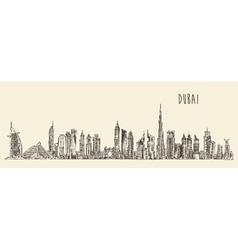 Dubai city skyline hand drawn engraved vector