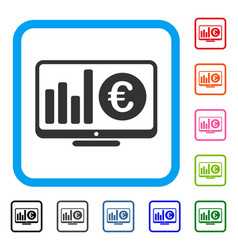Euro market monitoring framed icon vector