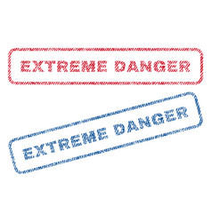 extreme danger textile stamps vector image vector image