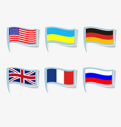 Flags usa russia france germany vector
