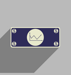 flat web icon with long shadow financial graph vector image vector image