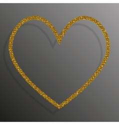 Frame gold sequins heart glitter sparkle vector