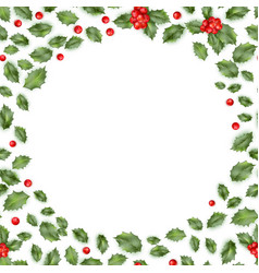 framed holly isolated on white background eps 10 vector image vector image