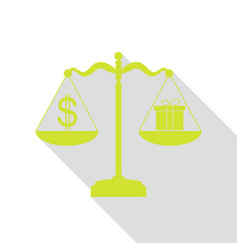 Gift and dollar symbol on scales pear icon with vector