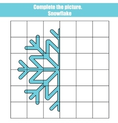 Grid copy game complete the picture educational vector