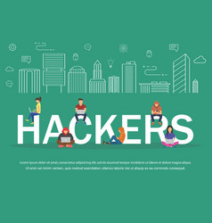 hackers using laptops for stealing login password vector image