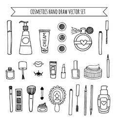 Hand drawn set of make up and cosmetics vector image