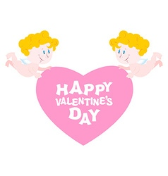 Happy Valentines day Two Angels and heart Symbol vector image