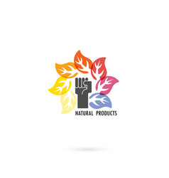 human hand and circle of colorful leaves icon vector image vector image