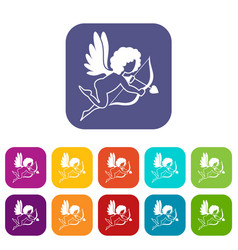 love cupid icons set flat vector image vector image