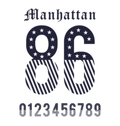 manhattan set number black white vector image vector image