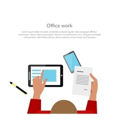 Office Work Top View Banner Design vector image