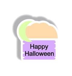 Paper sticker happy halloween vector