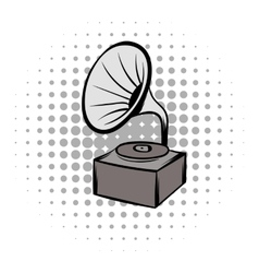 Phonograph grey comics icon vector