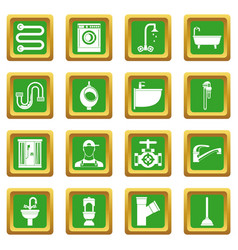 Plumbing icons set green vector