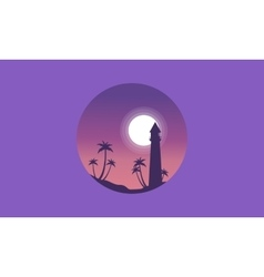 Scenery palm and lighthouse of silhouettes vector