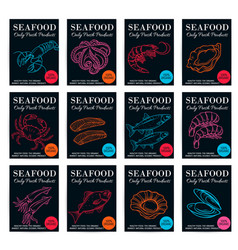 Seafood product poster set vector