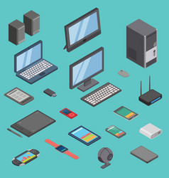 set of isometric computer gadget devices vector image