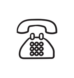 Telephone sketch icon vector