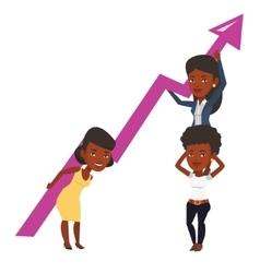 Three businesswomen holding growth graph vector