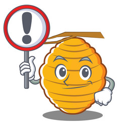 With sign bee hive character cartoon vector