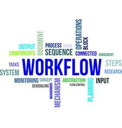 word cloud workflow vector image vector image