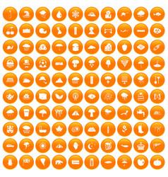 100 rain icons set orange vector