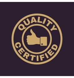 The certified quality and thumbs up icon vector image