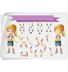 Girl and different set of faces vector image