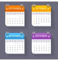 Calendar quarter month set vector